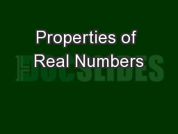Properties of Real Numbers PowerPoint PPT Presentation