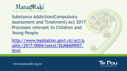 Substance Addiction(Compulsory Assessment and Treatment) Act 2017