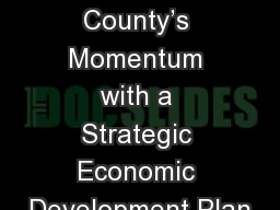 Continuing Charles County's Momentum with a Strategic Economic Development Plan