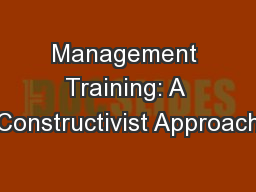 Management Training: A Constructivist Approach