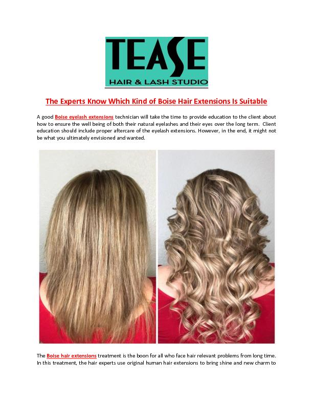 The Experts Know Which Kind of Boise Hair Extensions Is Suitable