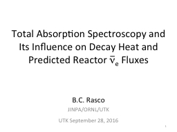 Total Absorption Spectroscopy and Its Influence on Decay Heat and Predicted Reactor PowerPoint PPT Presentation
