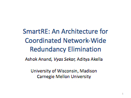 SmartRE : An Architecture for