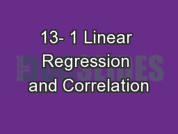 13- 1 Linear Regression and Correlation