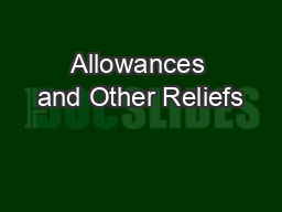 Allowances and Other Reliefs