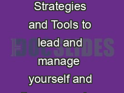 Using Thinking Strategies and Tools to lead and manage  yourself and others around you