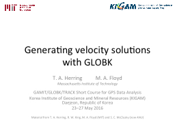 Generating velocity solutions with PowerPoint PPT Presentation