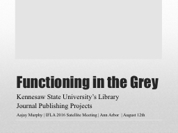 Functioning in the Grey Kennesaw State University's Library