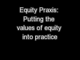 Equity Praxis: Putting the values of equity into practice