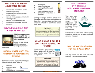 WHY ARE BOIL WATER ADVISORIES ISSUED inadequat e disi