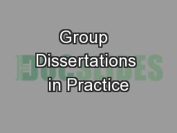 Group  Dissertations in Practice PowerPoint PPT Presentation