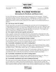 BOIL WATER NOTICES Information for Residents and Homeo