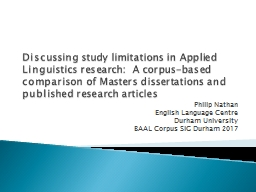 Discussing  study limitations in Applied Linguistics research: PowerPoint PPT Presentation