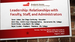 Leadership: Relationships with Faculty, Staff, and Administrators