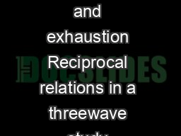 The loss spiral of work pressure workhome interference and exhaustion Reciprocal relations in a threewave study Evangelia Demerouti a Arnold B