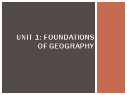 UNIT 1: FOUNDATIONS OF GEOGRAPHY