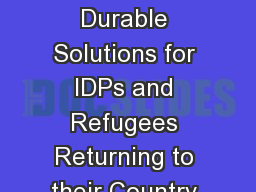 Joint Strategies to Support Durable Solutions for IDPs and Refugees Returning to their Country of O