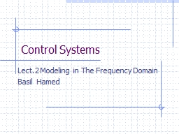 Control Systems Lect.2 Modeling in The Frequency Domain