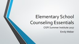 Elementary School Counseling Essentials