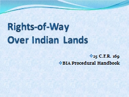 Rights-of-Way   Over Indian Lands