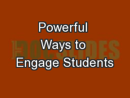 Powerful Ways to Engage Students