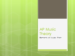 AP Music Theory  Elements of Music: Pitch