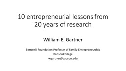 10 entrepreneurial lessons from 20 years of research