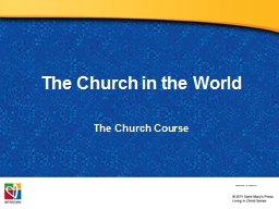 The Church in the World The PowerPoint PPT Presentation
