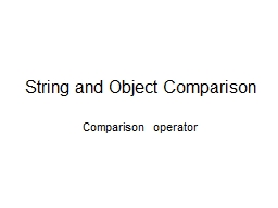 String and Object Comparison