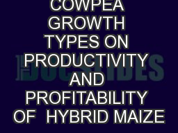 EFFECT OF COWPEA GROWTH TYPES ON PRODUCTIVITY AND PROFITABILITY OF  HYBRID MAIZE