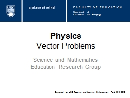 Physics Vector Problems Science and Mathematics Education Research Group