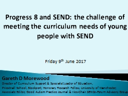 Progress 8 and SEND: the challenge of meeting the curriculum needs of young people with SEND