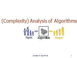 (Complexity) Analysis of Algorithms