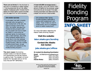 INFO SHEET Fidelity Bonding Program There are no forms