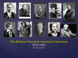 The Modern Period in American Literature PowerPoint PPT Presentation