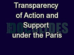 Transparency  of Action and Support under the Paris