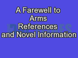 A Farewell to Arms References and Novel Information