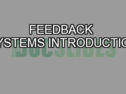 FEEDBACK SYSTEMS INTRODUCTION