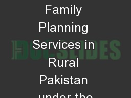 Quality Assurance of Family Planning Services in Rural Pakistan under the