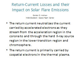 Return-Current Losses and their Impact on Solar Flare Emissions PowerPoint PPT Presentation
