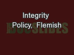 Integrity Policy,  Flemish