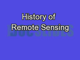 History of Remote Sensing