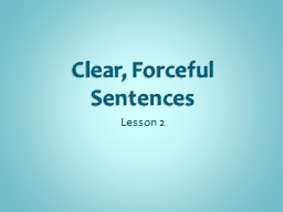 Clear, Forceful Sentences