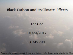Black Carbon and Its  C limate