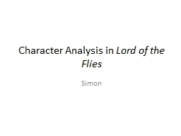 Character Analysis in  Lord of the Flies
