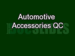 Automotive Accessories QC