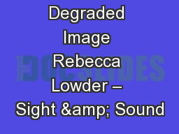 Degraded Image Rebecca Lowder – Sight & Sound