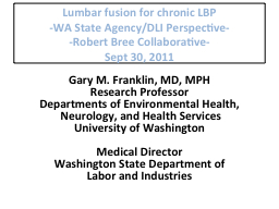 Lumbar fusion for chronic LBP