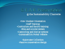 G.E.A.R. Presentation @ the Sustainability