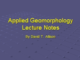 Applied Geomorphology Lecture Notes